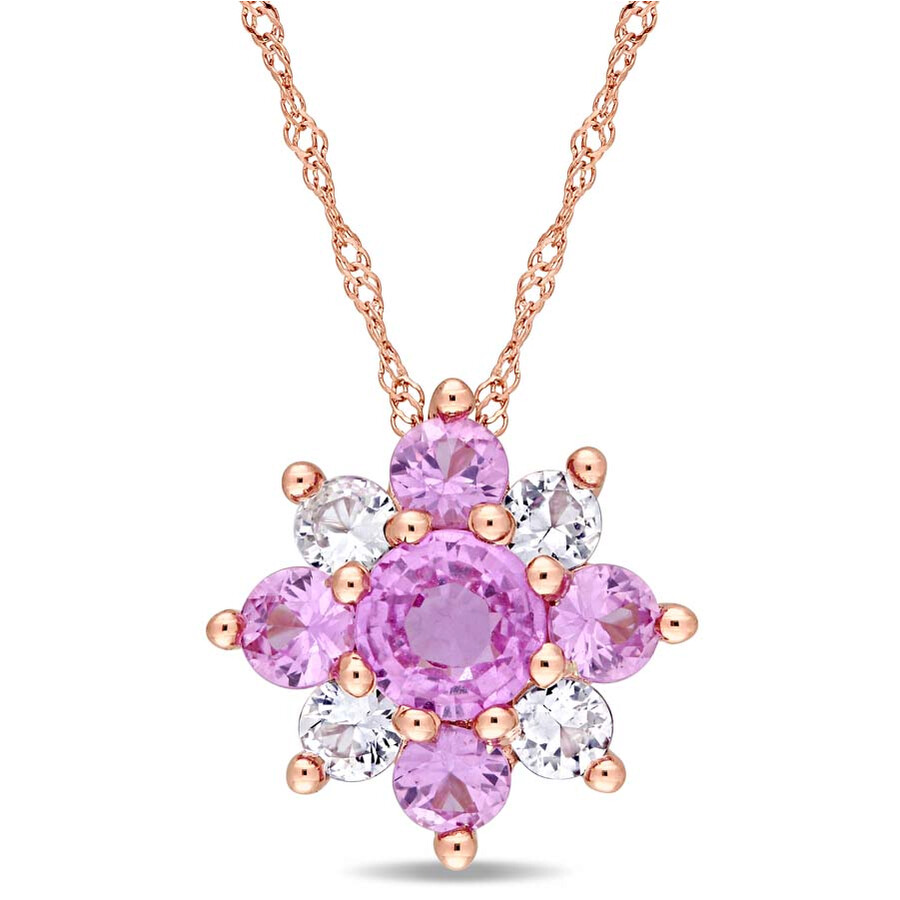 Amour Pink and White Sapphire Cluster Star Pendant JMS004229