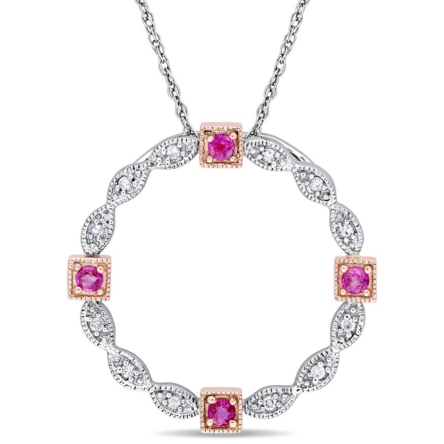 Amour Pink Sapphire and Diamond Accent Vintage Pendant with Chain in 2-Tone ..
