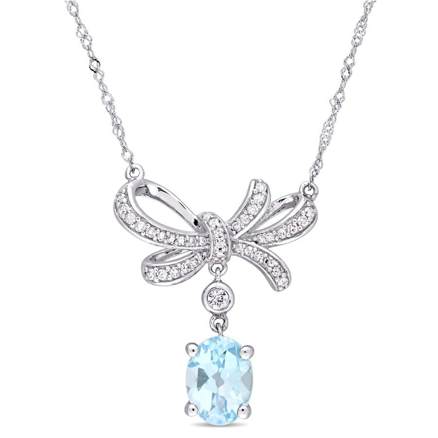 Amour Sky Blue Topaz and White Sapphire Necklace JMS004182