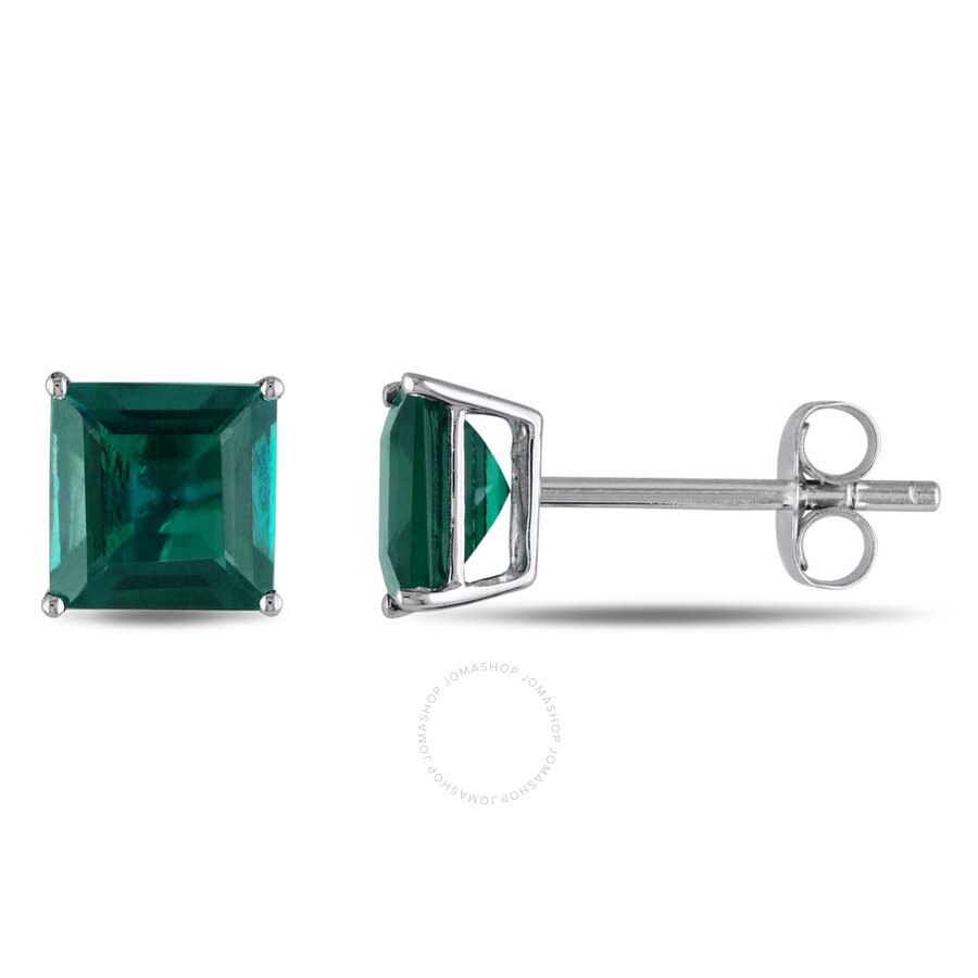 Amour Square Cut Created Emerald Stud Earrings in 10k White Gold