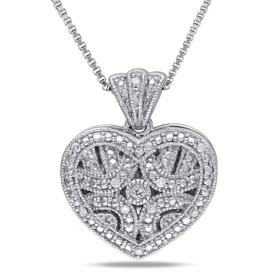 Amour Sterling Silver 0.06 CT Diamond Heart-Shape Locket Necklace JMS002669