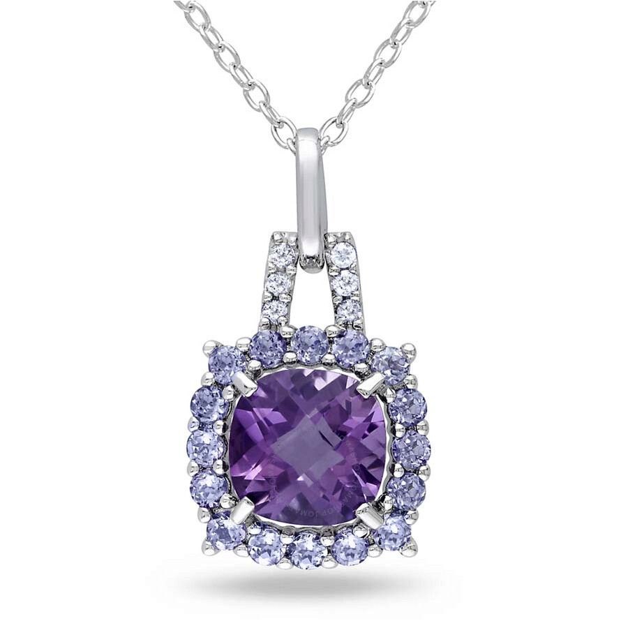 Amour Sterling Silver Amethyst Tanzanite and Diamond Pendant JMS003229