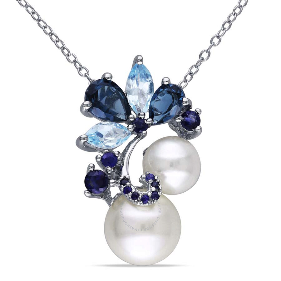 Amour Sterling Silver Cultured Freshwater Pearl Multi-Stone Pendant
