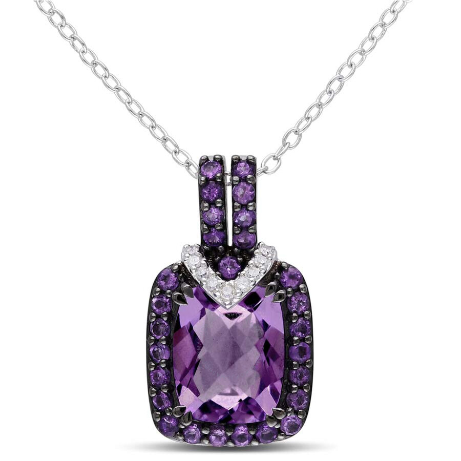 Amour Sterling Silver Cushion Shape Amethyst Pendant JMS003268