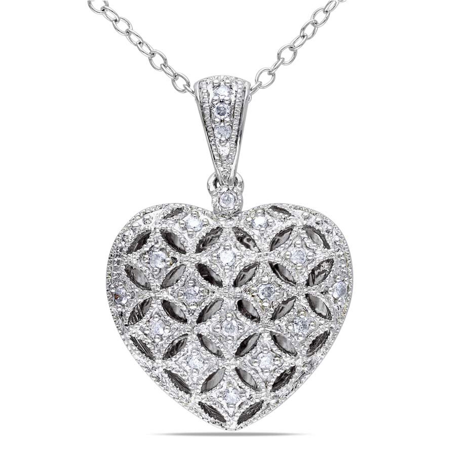 Amour Sterling Silver Heart Shape 1/7 CT. Diamond Pendant JMS003217