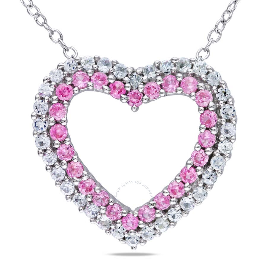 Amour Sterling Silver Pink and White Sapphire Heart Necklace JMS002686