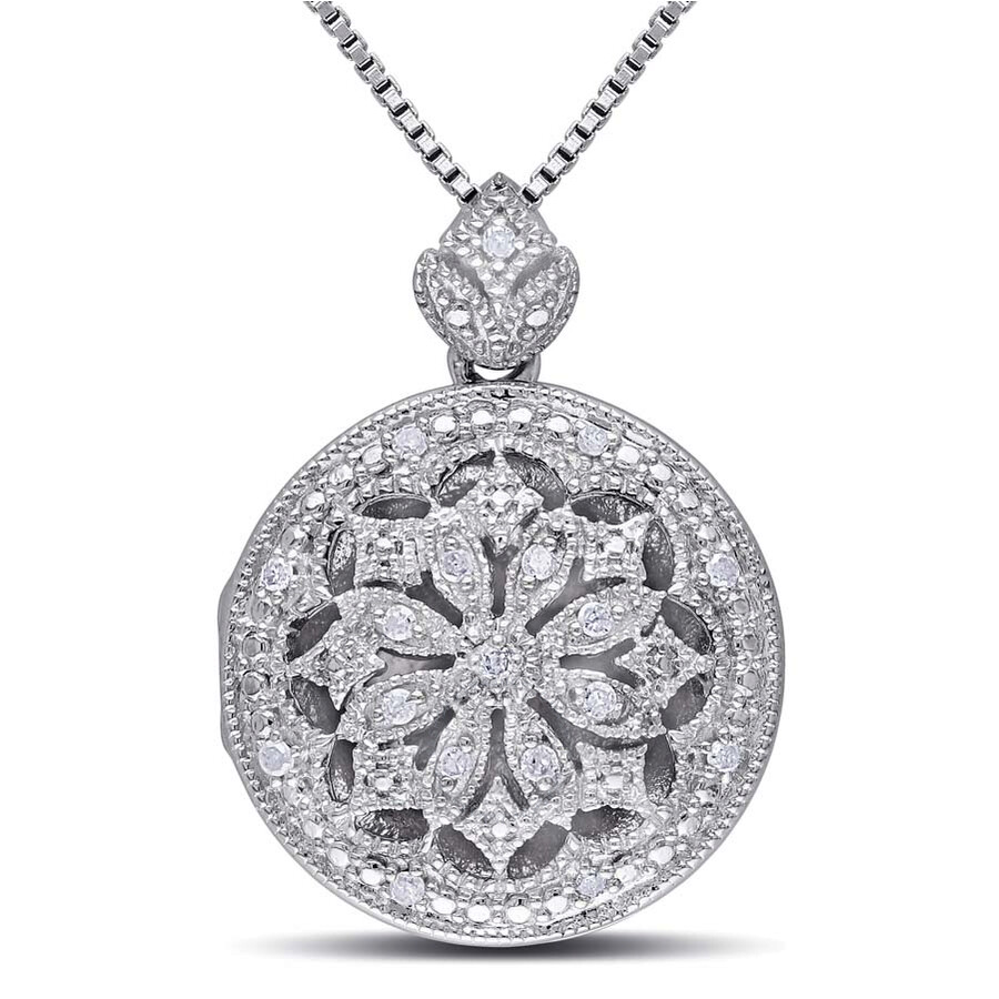 Amour Sterling Silver Vintage Locket 1/10 CT. Diamond Pendant JMS003264