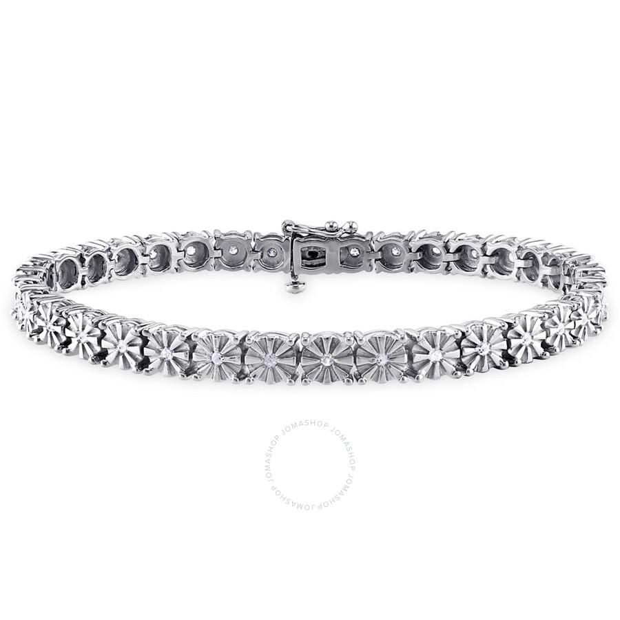 Amour Sterling Silver White Diamond Square Link Bracelet JMS003286