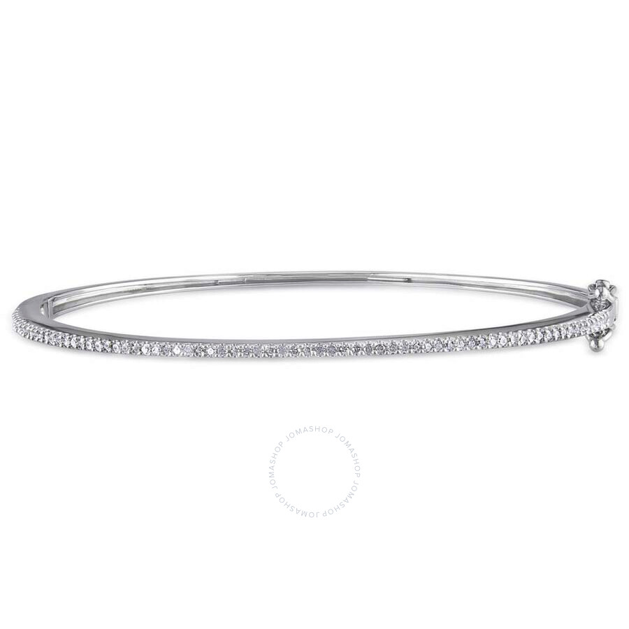 Amour White Diamond Sterling Silver Bangle