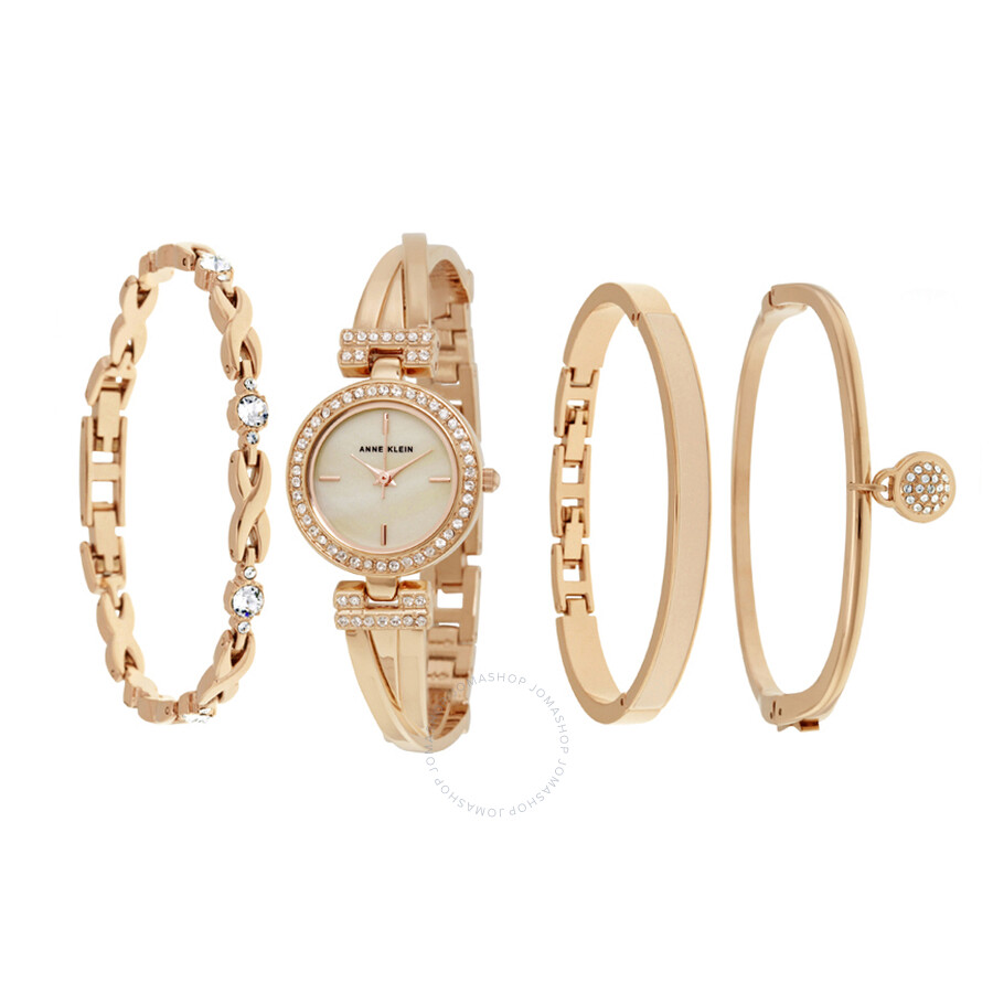 Anne Klein Mother Of Pearl Dial Rose Gold Bangle Ladies Watch Set 2238RGST