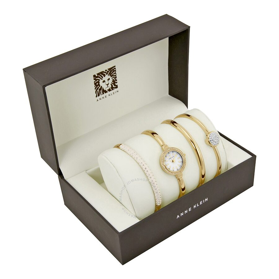 Open Box - Anne Klein Mother of Pearl Dial Gold-tone Bangle Ladies Watch 224..