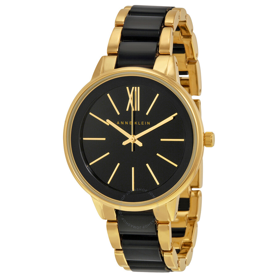 anne klein black dial gold tone and black resin ladies watch 1412bkgb anne klein watches On black resin ladies watch