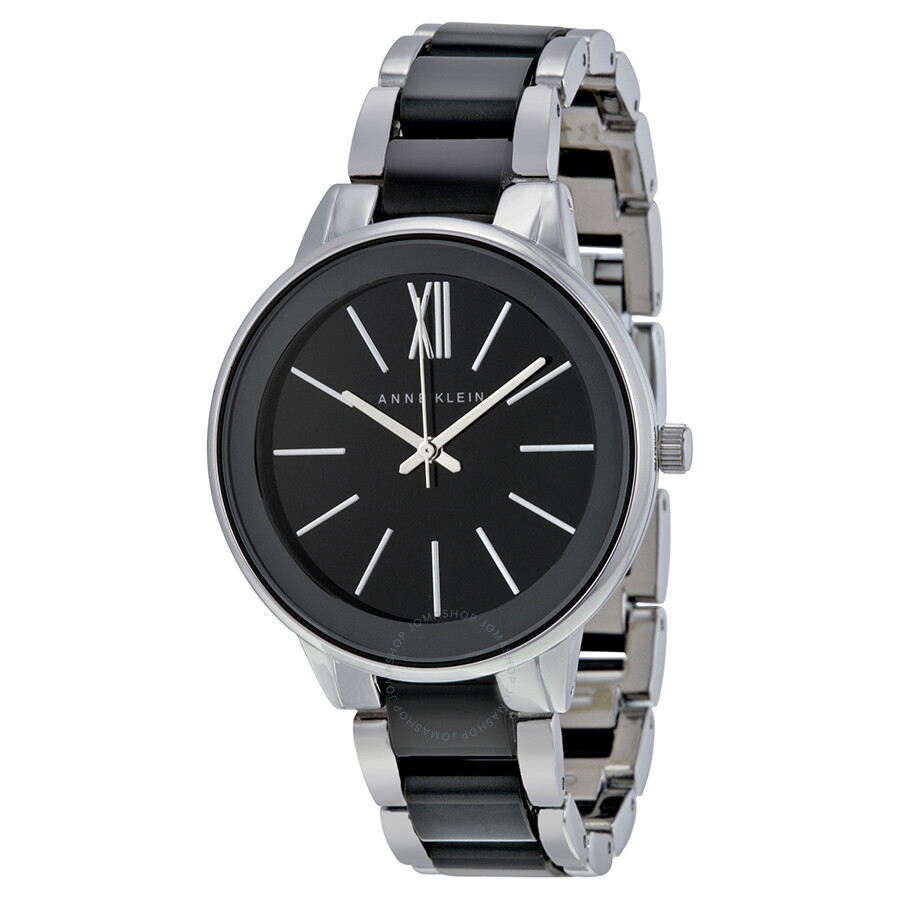 anne klein black dial stainless steel and black resin ladies watch 1413bksv anne klein