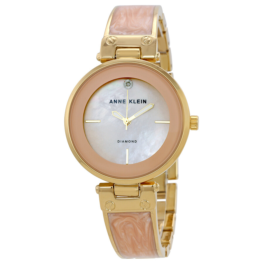 Anne Klein Blush Mother Of Pearl Dial Ladies Bangle Watch 2512LPGB