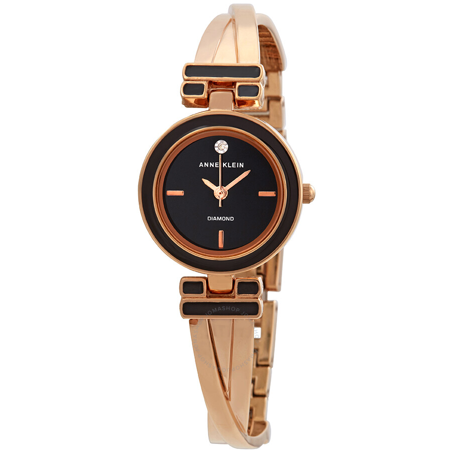 Anne Klein Diamond Black Dial Ladies Watch 2622BKRG