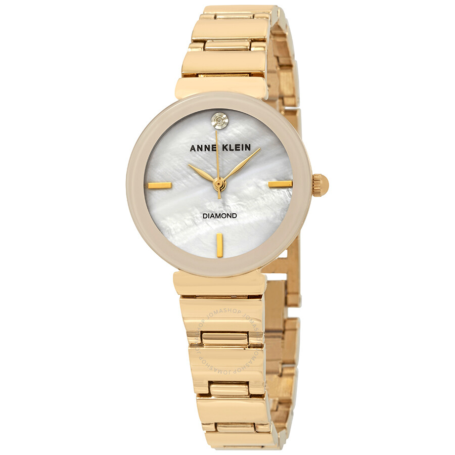 Anne Klein Diamond White Mother of Pearl Dial Ladies Watch 2434PMGB