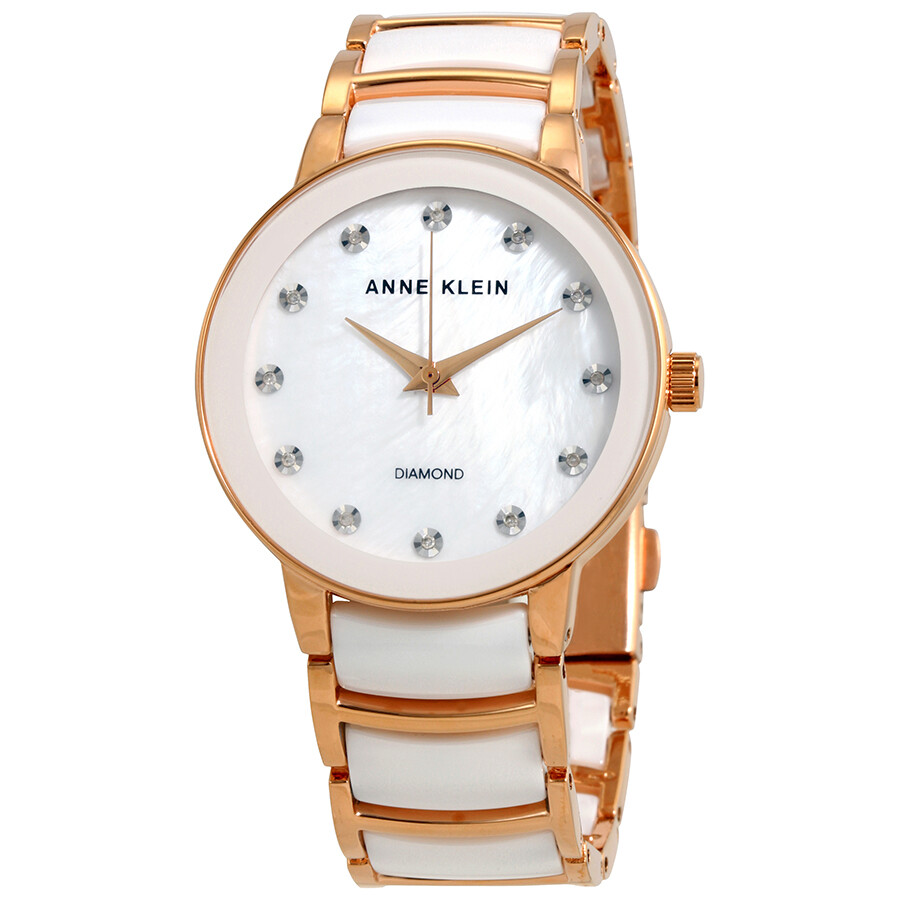 Anne Klein Diamond White Mother of Pearl Dial Ladies Watch 2672WTRG