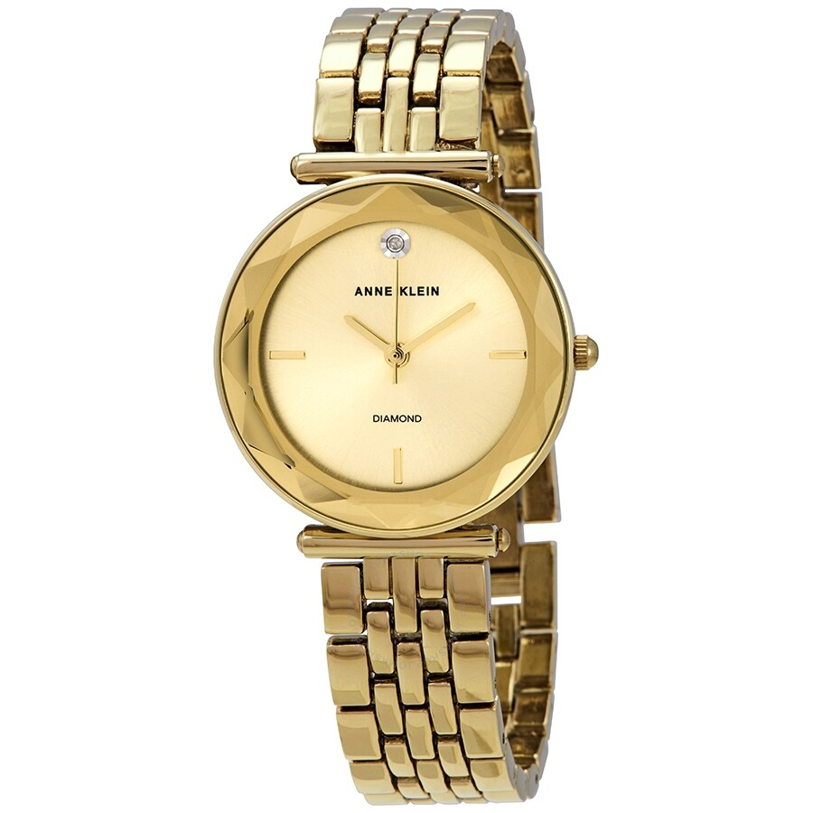 Anne Klein Quartz Gold Dial Yellow Gold-tone Ladies Watch AK/3412CHGB