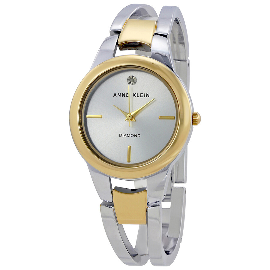 Anne Klein Silver Dial Two-tone Bangle Ladies Watch 2629SVTT