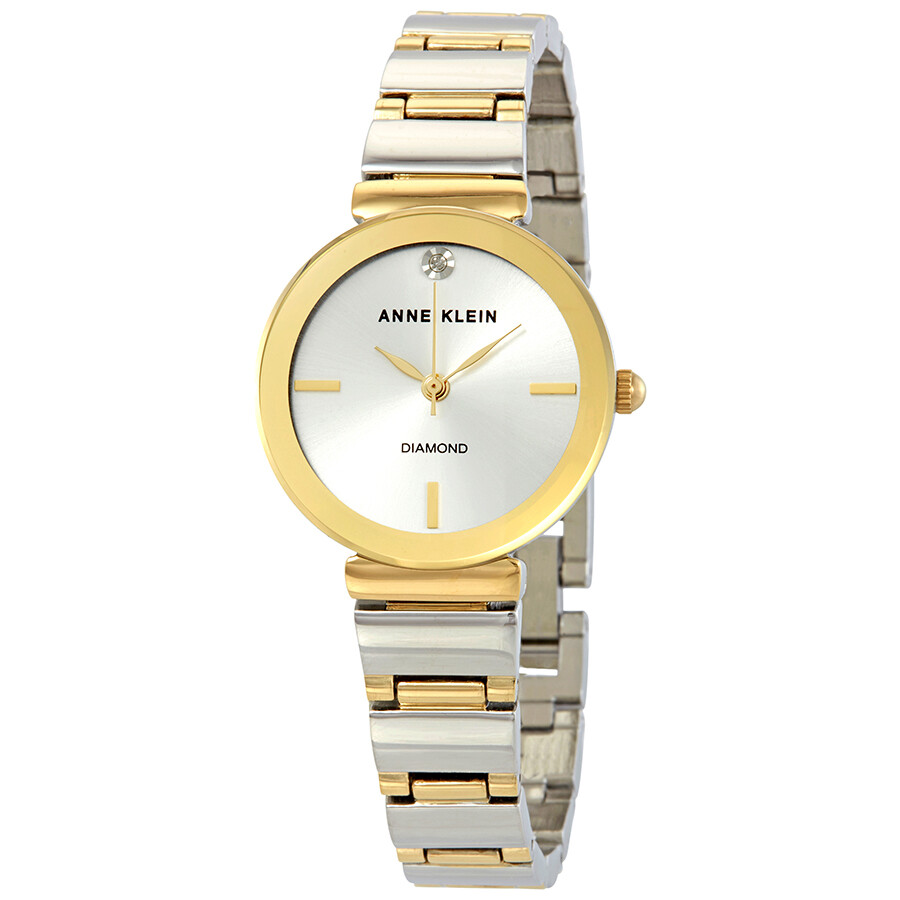 Anne Klein Silver Sunray Dial Ladies Watch 2435SVTT