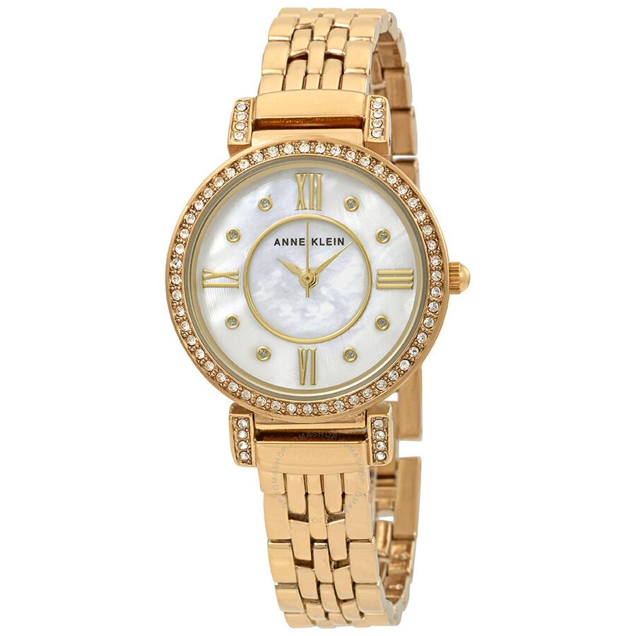 Anne Klein Swarovski Crystals White Mother of Pearl Dial Ladies Watch 2928MPGB