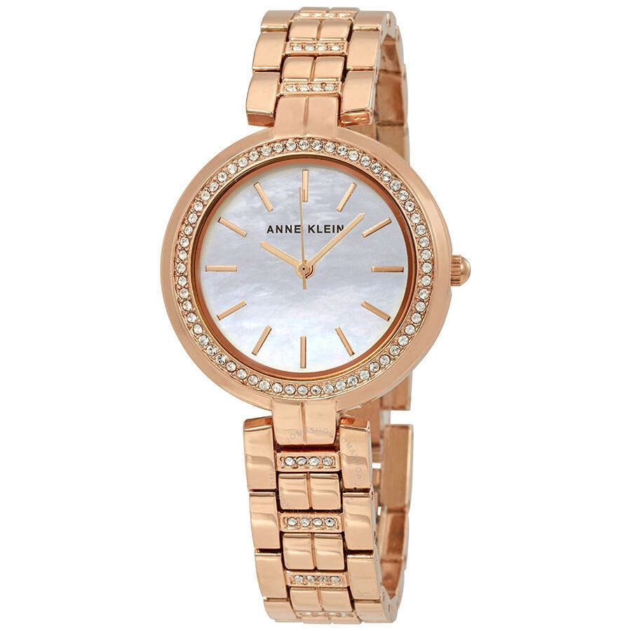 Anne Klein Swarovski Crystals White Mother of Pearl Dial Ladies Watch 2968MPRG