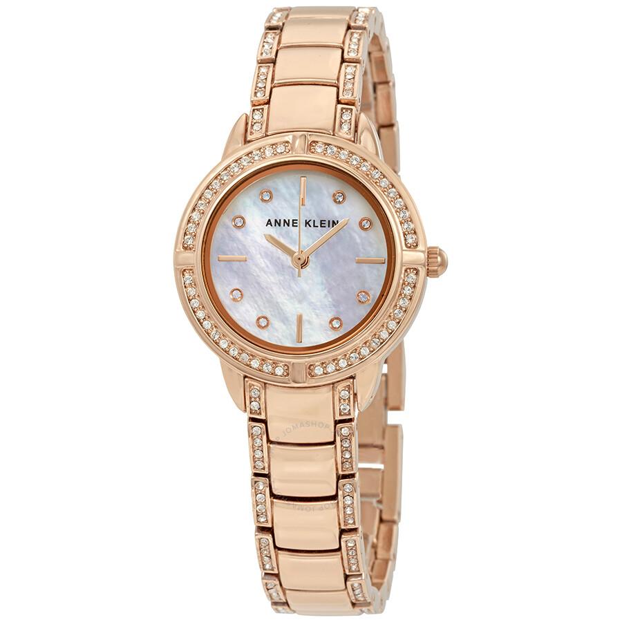 Anne Klein Swarovski Crystals White Mother of Pearl Dial Ladies Watch 2976MPRG