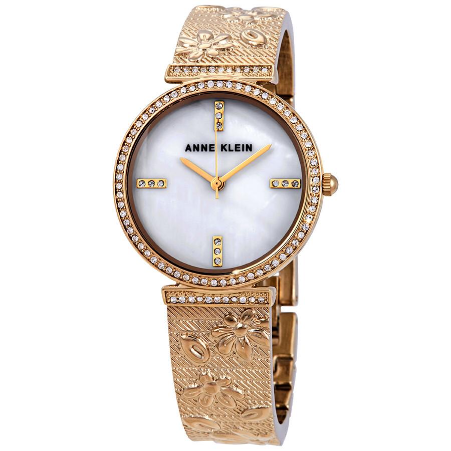 Anne Klein Swarovski Crystals White Mother of Pearl Dial Ladies Watch 3146MPGB