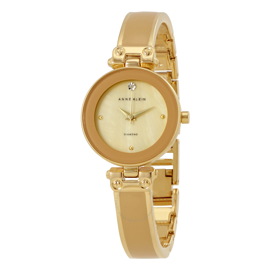 Anne Klein Tan Mother of Pearl Dial Ladies Watch 1980TMGB