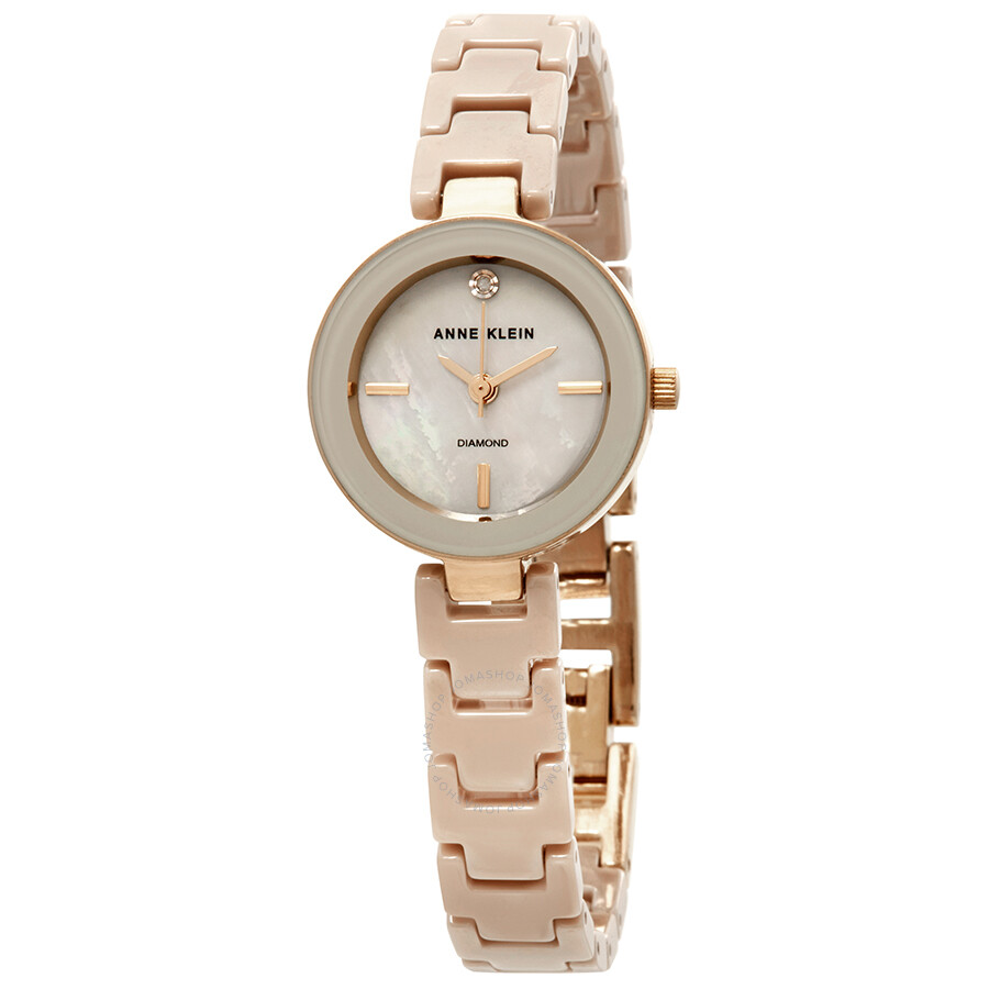 Anne Klein Tan Mother of Pearl Dial Ladies Watch 2660TNGB