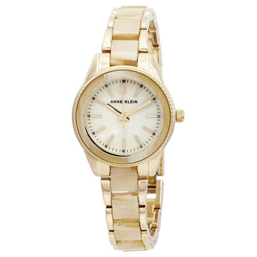 Anne Klein Trend White Mother of Pearl Dial Ladies Watch AK/3212HNGB