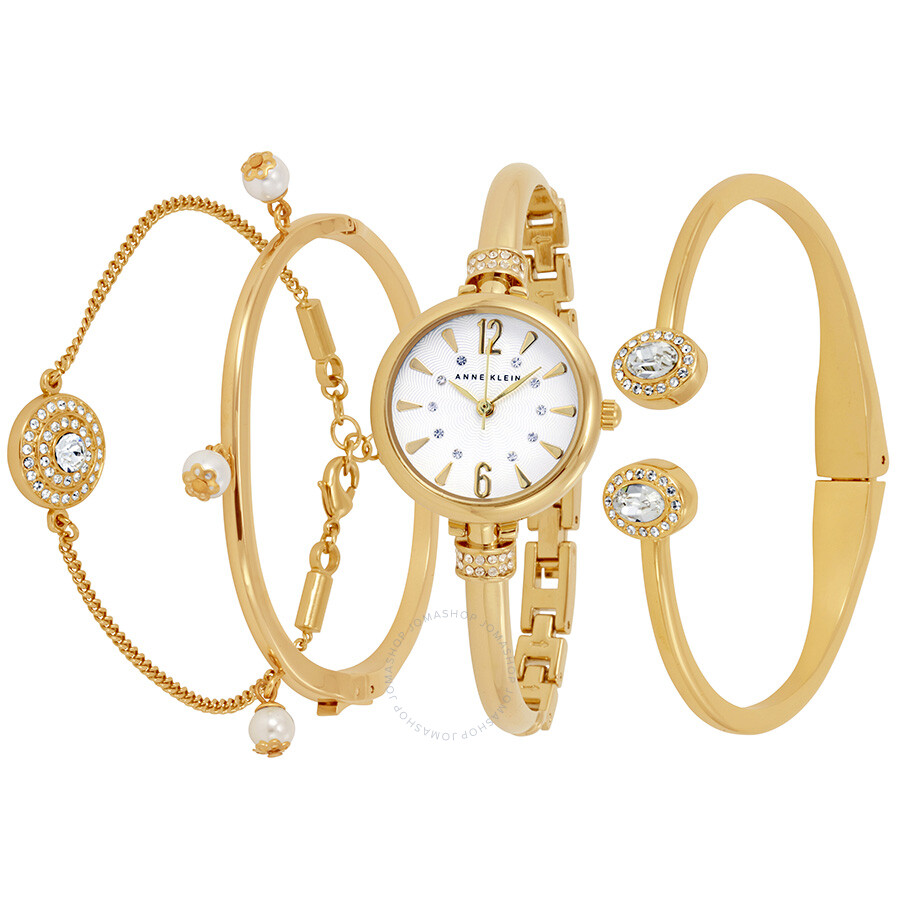 Anne Klein White Dial Ladies Watch and Bracelet Set  2336GBST