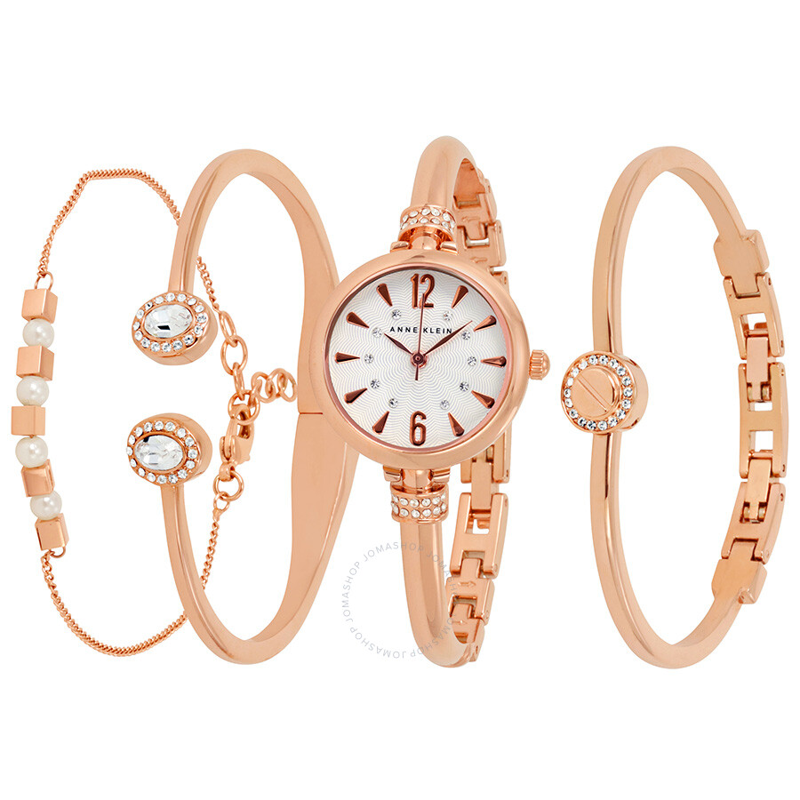 Anne Klein White Dial Ladies Watch and Bracelet Set 2338RGST