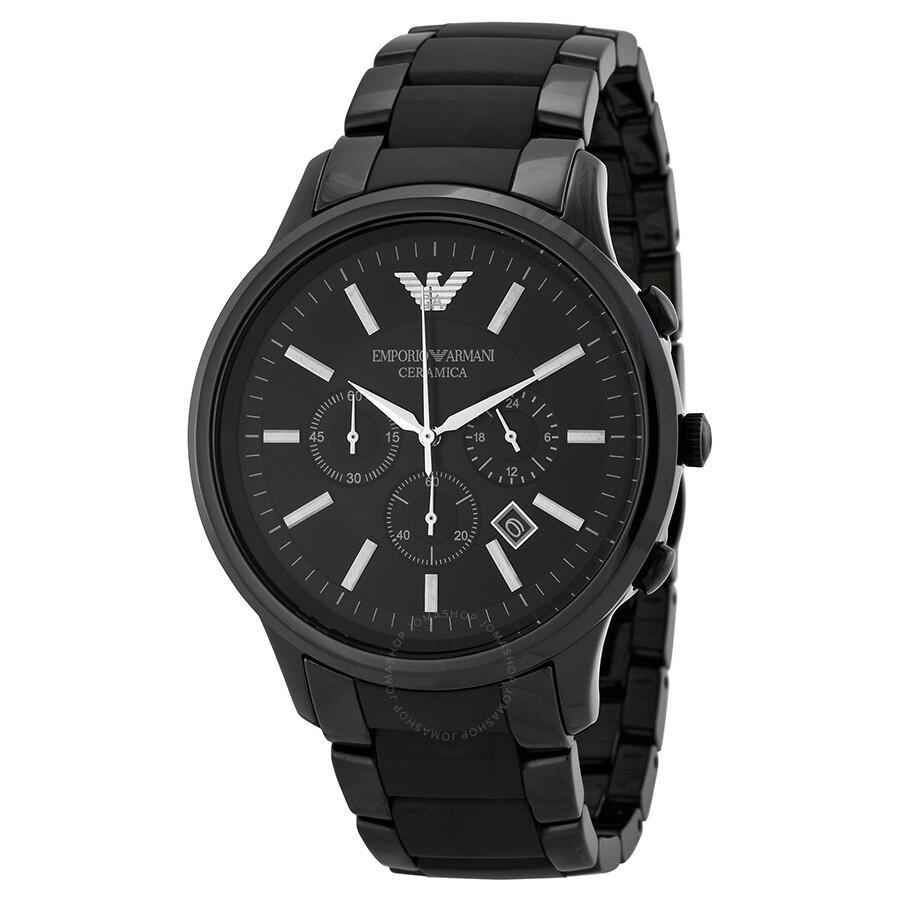 emporio armani ceramica chronograph black dial men s watch ar1451 rh jomashop com Emporio Armani Ladies Watches Emporio Armani Watches Female