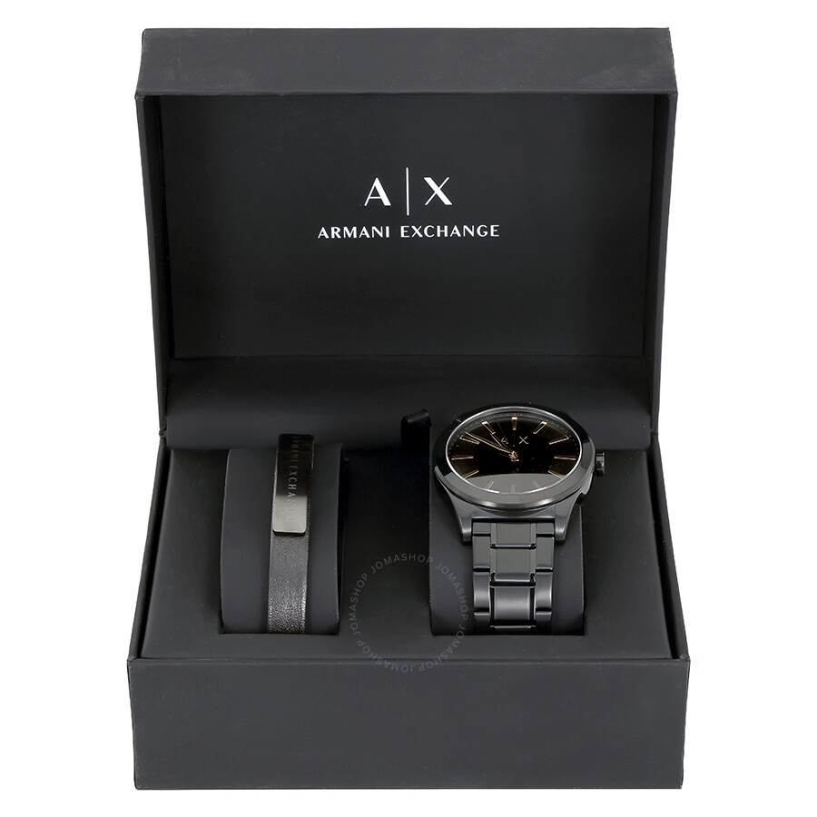 exchange armani active black gift men watches mens set watch s dial