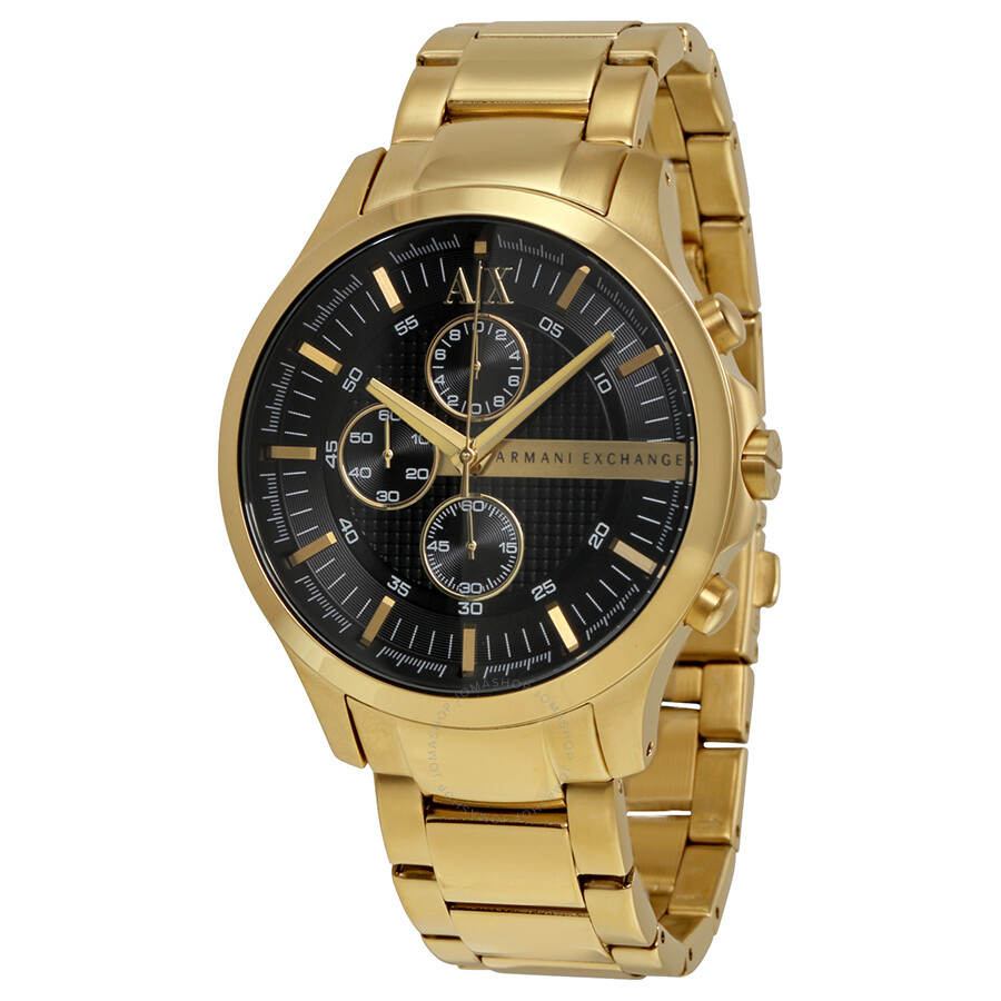 Armani exchange black dial chronograph gold plated stainless steel unisex watch ax2137 armani for Armani exchange watches