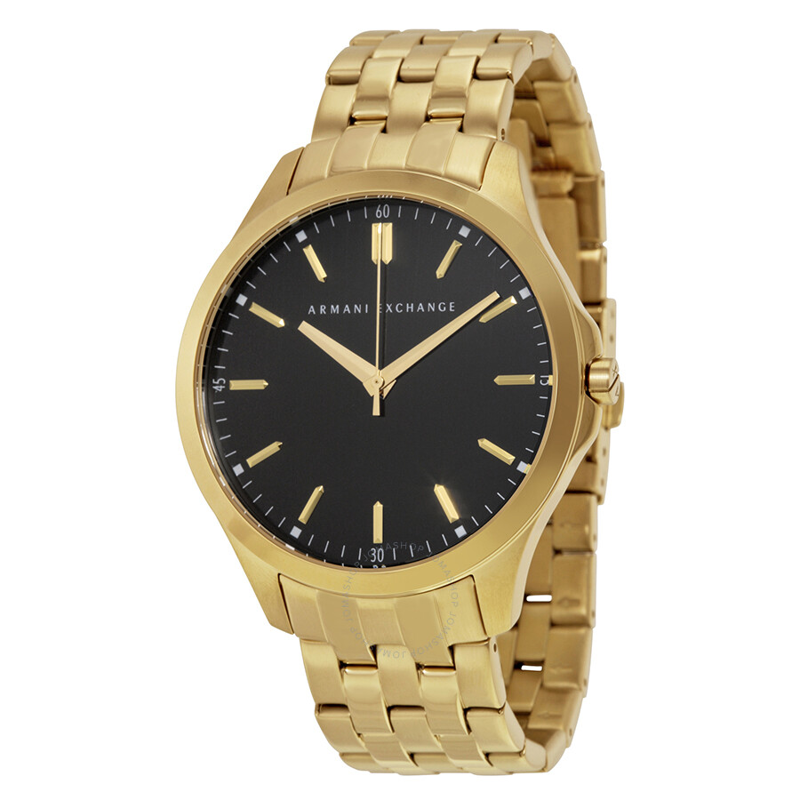 Armani exchange black dial gold plated men 39 s watch ax2145 armani exchange watches jomashop for Armani exchange watches