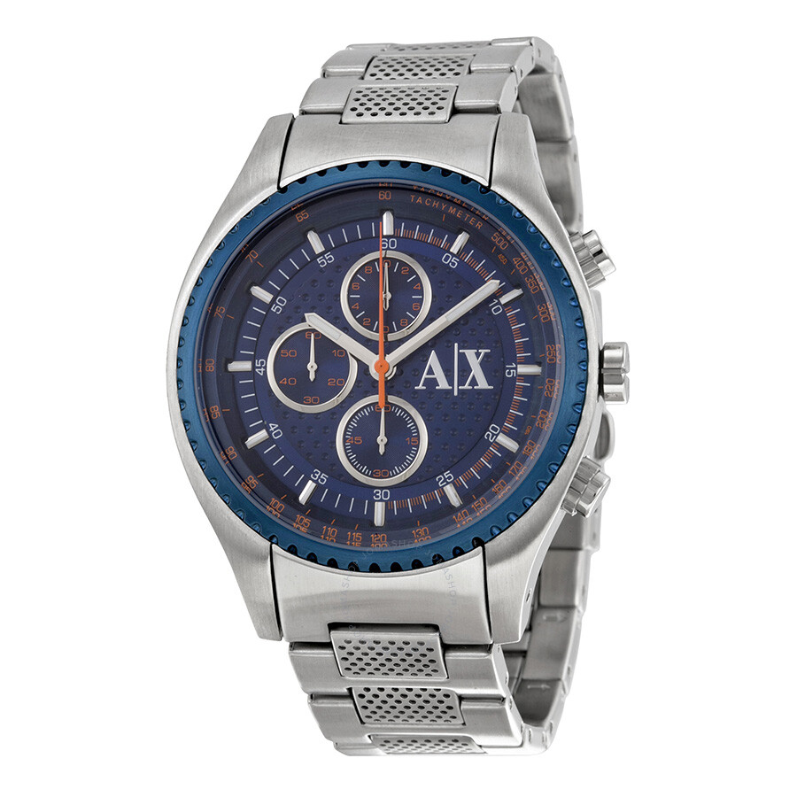 Armani exchange blue dial chronograph stainless steel men 39 s watch ax1607 armani exchange for Armani exchange watches