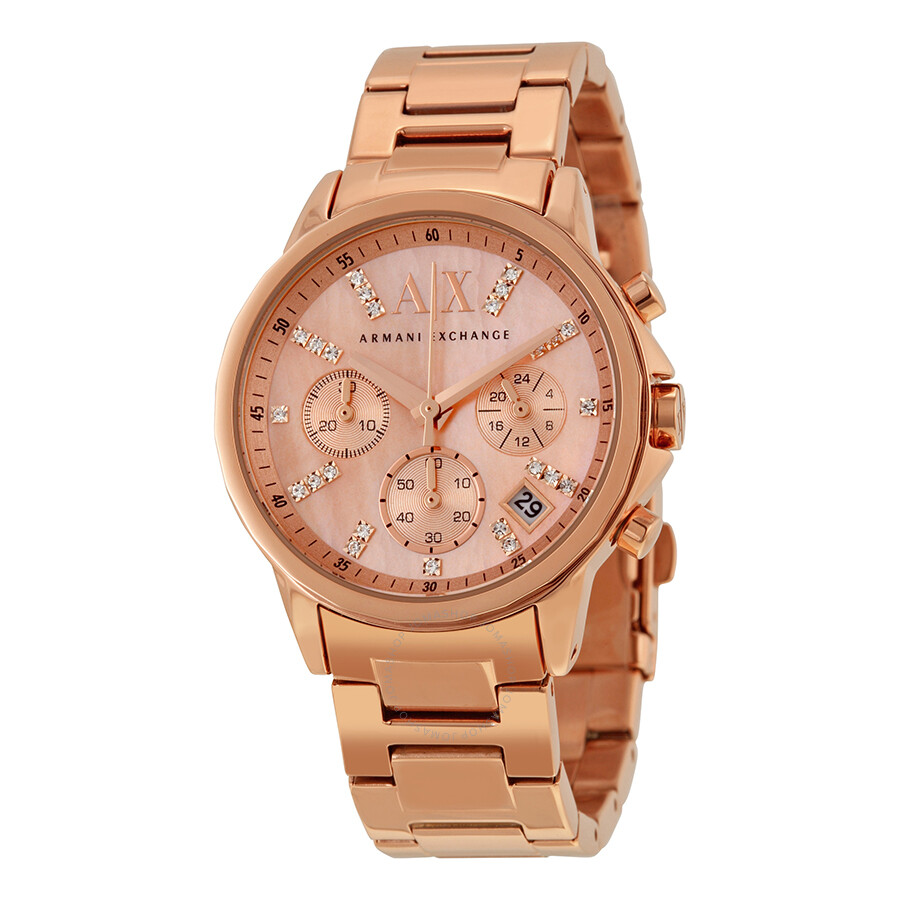 Armani exchange chronograph rose mother of pearl dial ladies watch ax4326 armani exchange for Mother of pearl dial watch
