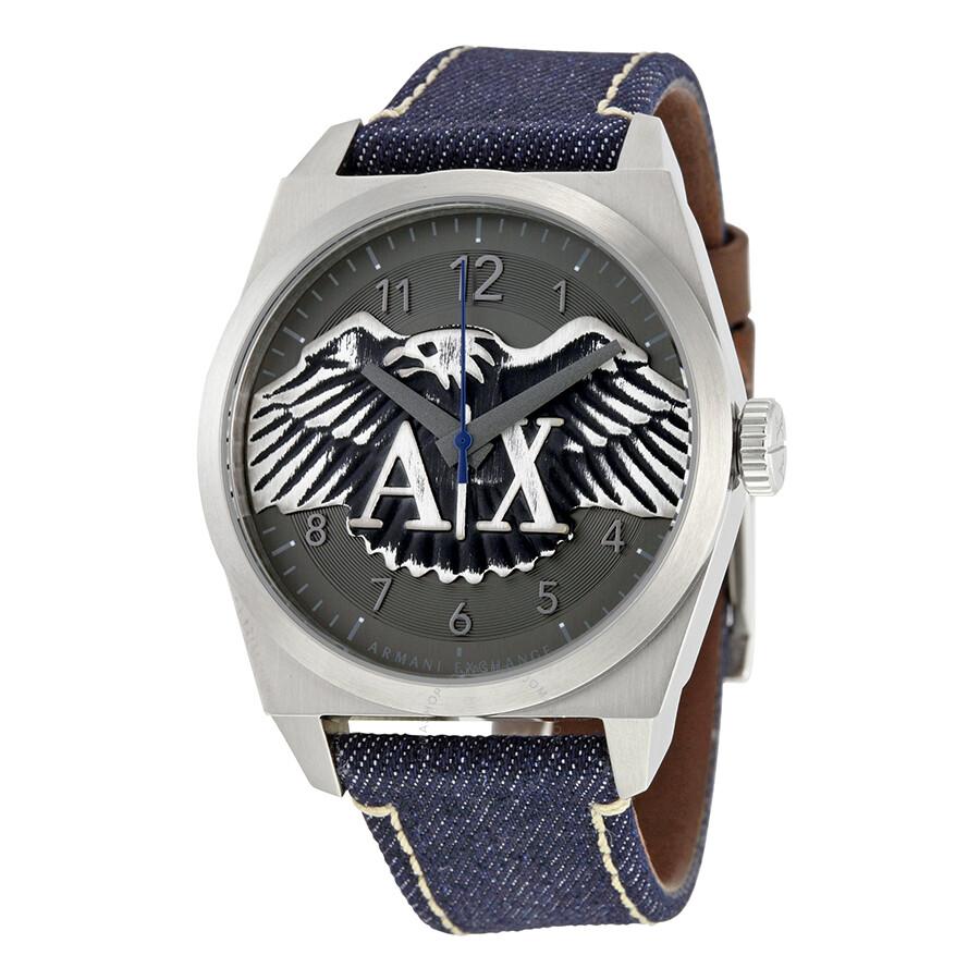 Armani Exchange Jackson Grey Dial Blue Denim Mens Watch AX2307