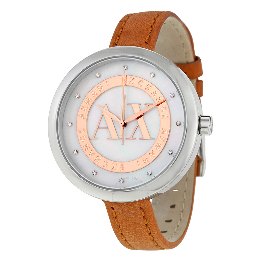 Armani Exchange Jullietta Mother Of Pearl Dial Light Brown Leather Ladies Watch AX4226