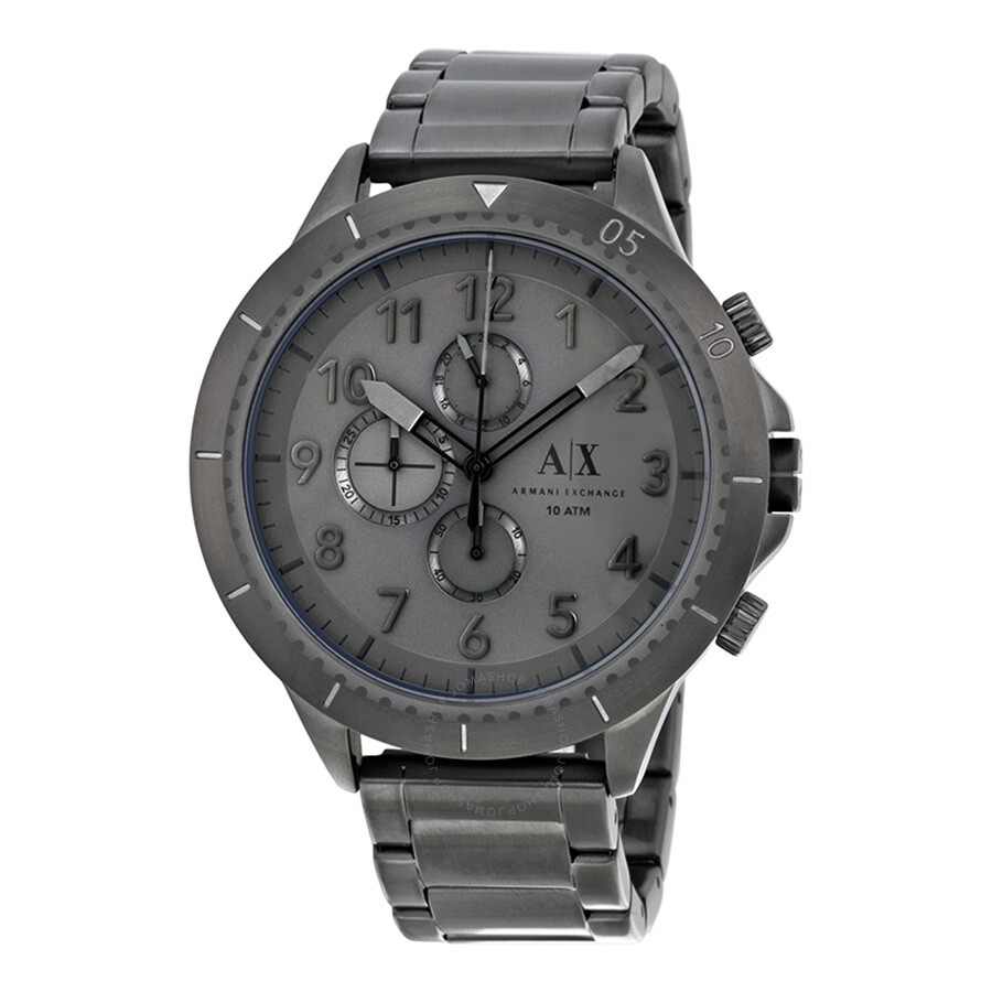 Armani Exchange Romulous Chronograph Grey Dial Gunmetal Ion-plated Mens Watch AX1753