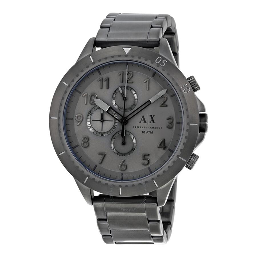 Armani Exchange Romulous Chronograph Grey Dial Gunmetal Ion-plated Mens Watch AX1753