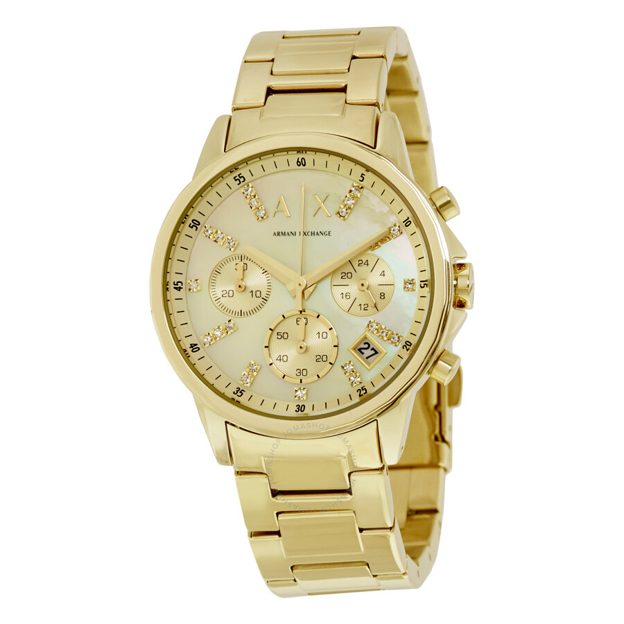 armani exchange female armani exchange smart chronograph gold dial ladies watch ax4327