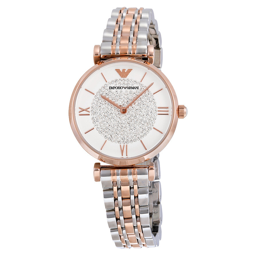 Armani White Crystal Pave Dial Two-tone Stainless Steel Ladies Watch AR1926