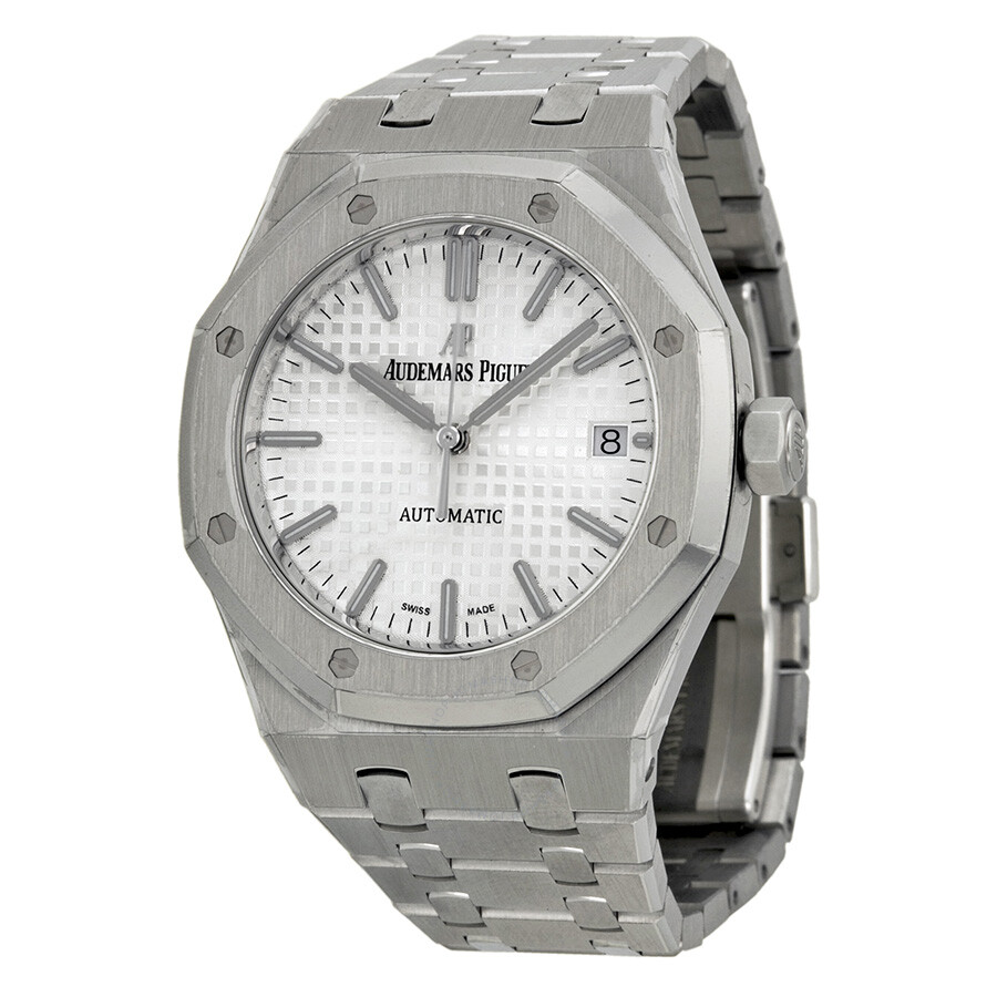 Audemars piguet royal oak automatic silver dial stainless steel unisex watch 15450st for Audemars watches