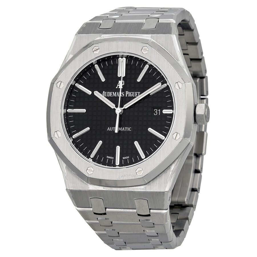 Audemars piguet royal oak black dial stainless steel bracelet men 39 s watch 15400stoo1220st01 for Stainless steel watch