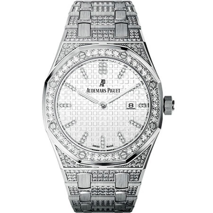 Audemars Piguet Royal Oak Lady Diamond Silver Dial White Gold Ladies Watch 67652BC. ZZ.1262BC.01