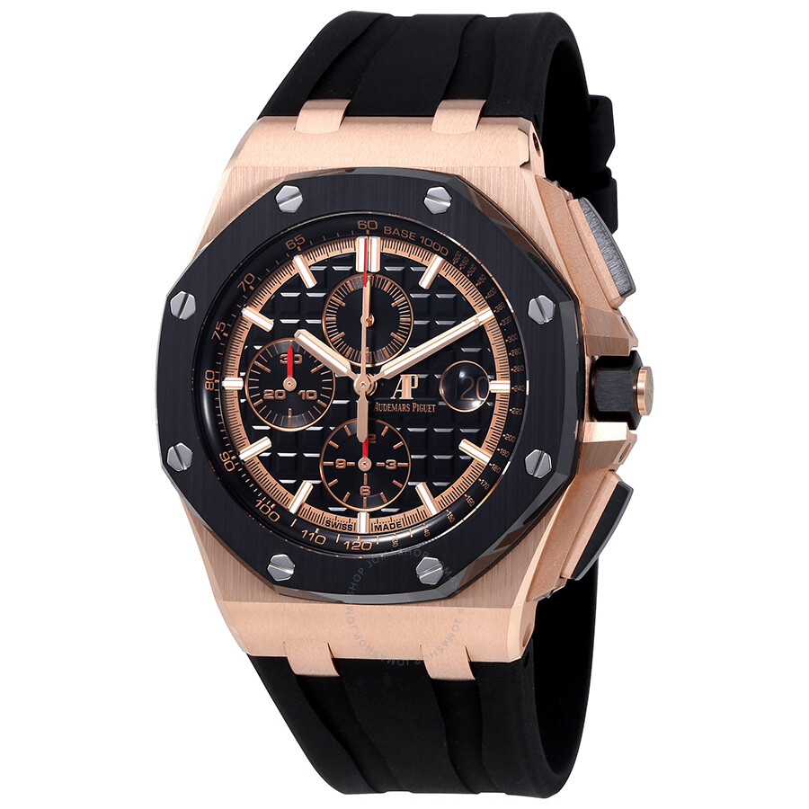 Audemars piguet royal oak offshore black mega tapisserie dial men 39 s chronograph watch 26401ro oo for Audemars watches