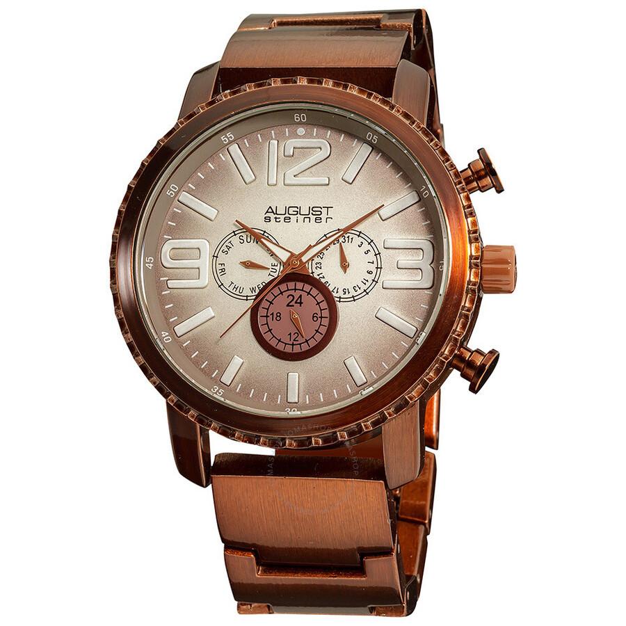 August steiner brown multi function gradient dial quartz bracelet watch as8067br august for Gradient dial watch